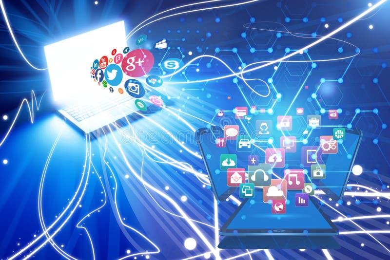 Bez zabezpieczenia ucieczka intymna informacja nad ogólnospołecznymi sieciami royalty ilustracja