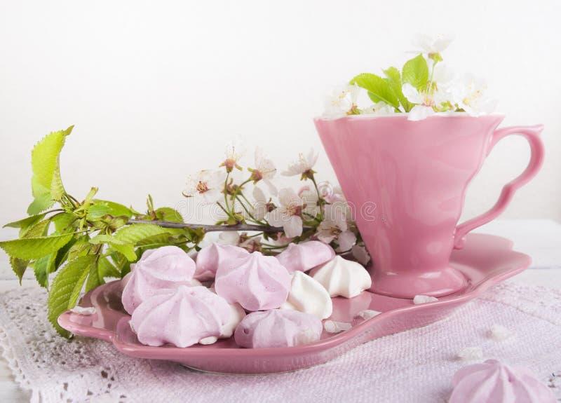 beza na talerzu z różową filiżanką i wiśnią kwitnie obraz royalty free