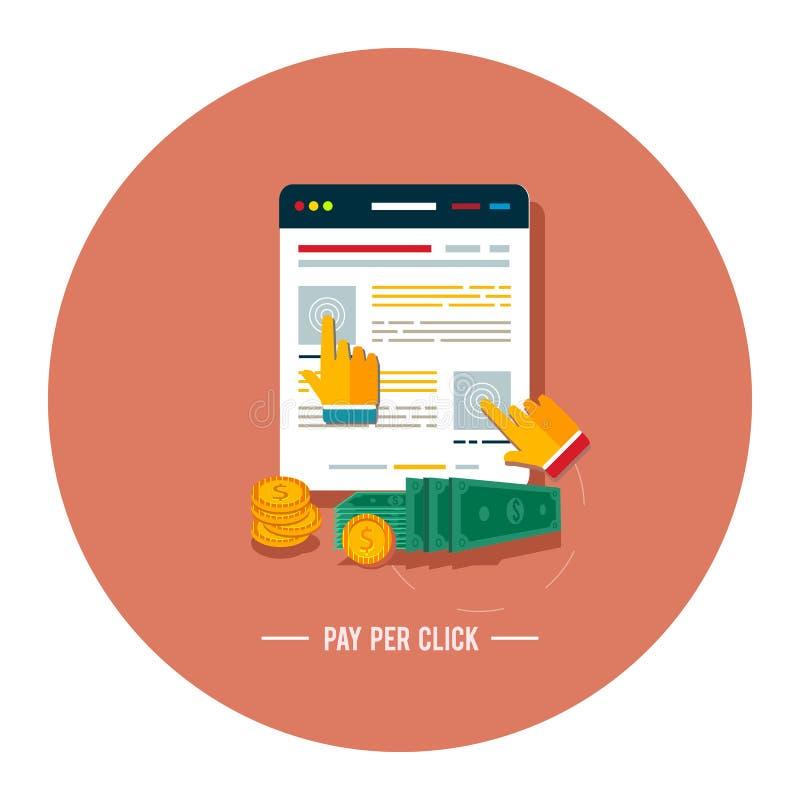 Bezahlung-pro-Klick- Internet-Werbungsmodell lizenzfreie abbildung