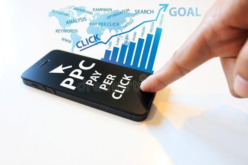 Bezahlung-pro-Klick- Konzept stockfotografie