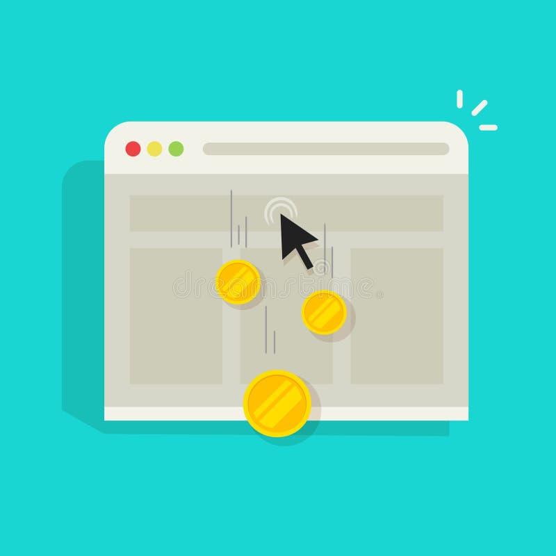 Bezahlung-pro-Klick- PPC vector Internet-Werbekonzeption, Marketing lizenzfreie abbildung