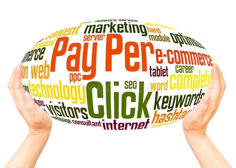 Bezahlung-pro-Klick- Wortwolkenhandbereichkonzept lizenzfreies stockfoto