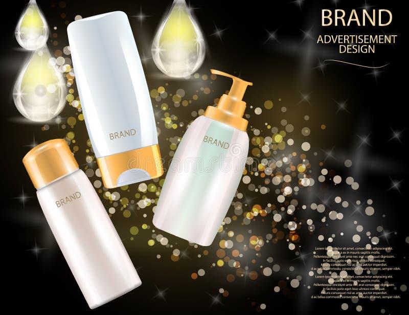 Bezaubernde Haarpflege-Produkt-Pakete auf dem Funkeln bewirkt Hintergrund lizenzfreie abbildung