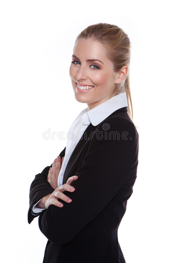Bezaubernde positive lächelnde Geschäftsfrau stockfotos