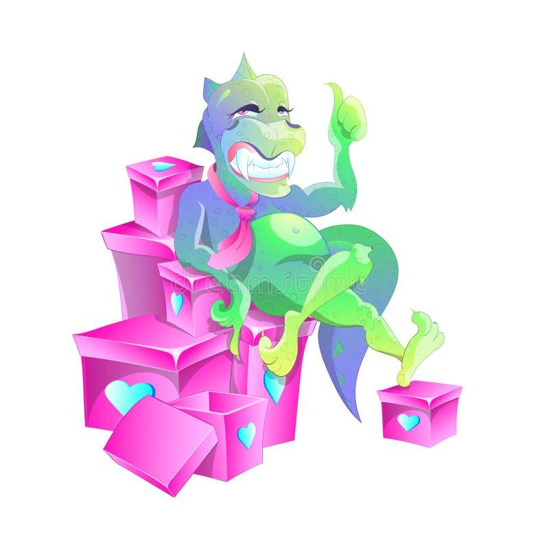 Bezaubernder Dinosaurier mit einem trägen Blick sitzt auf den Kästen mit Geschenken Er zeigt seinen Finger auf den offenen Kasten stock abbildung