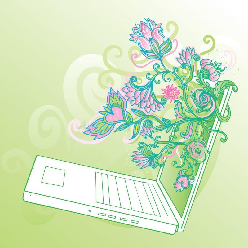 Bezaubernder Laptop mit Blumen stock abbildung