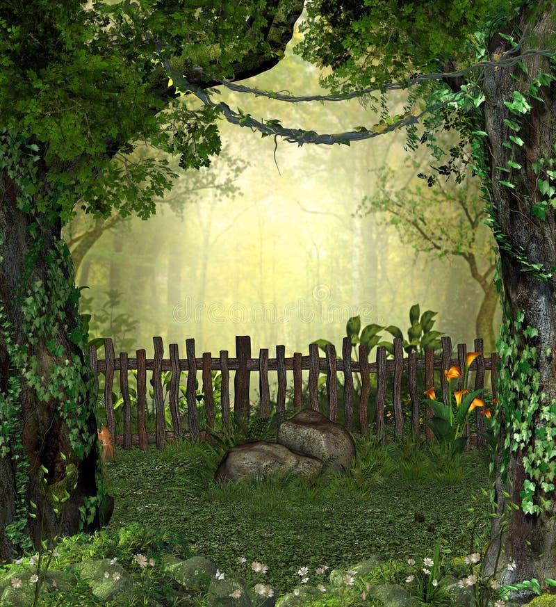 Bezaubernder magischer feenhafter Garten im Wald lizenzfreie abbildung