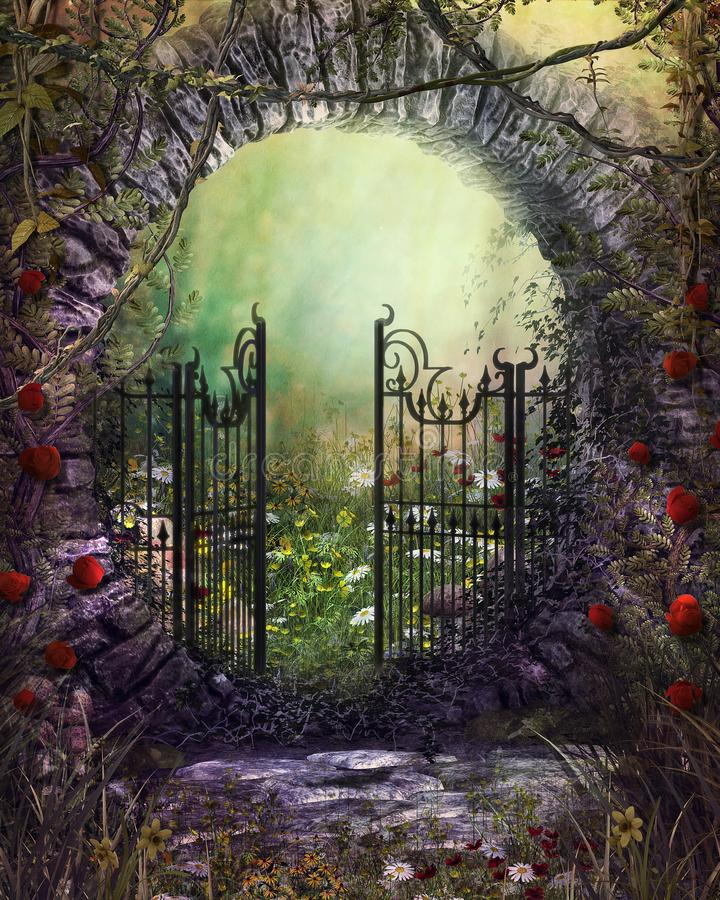 Bezauberndes altes Gartentormit Efeu und Blumen vektor abbildung