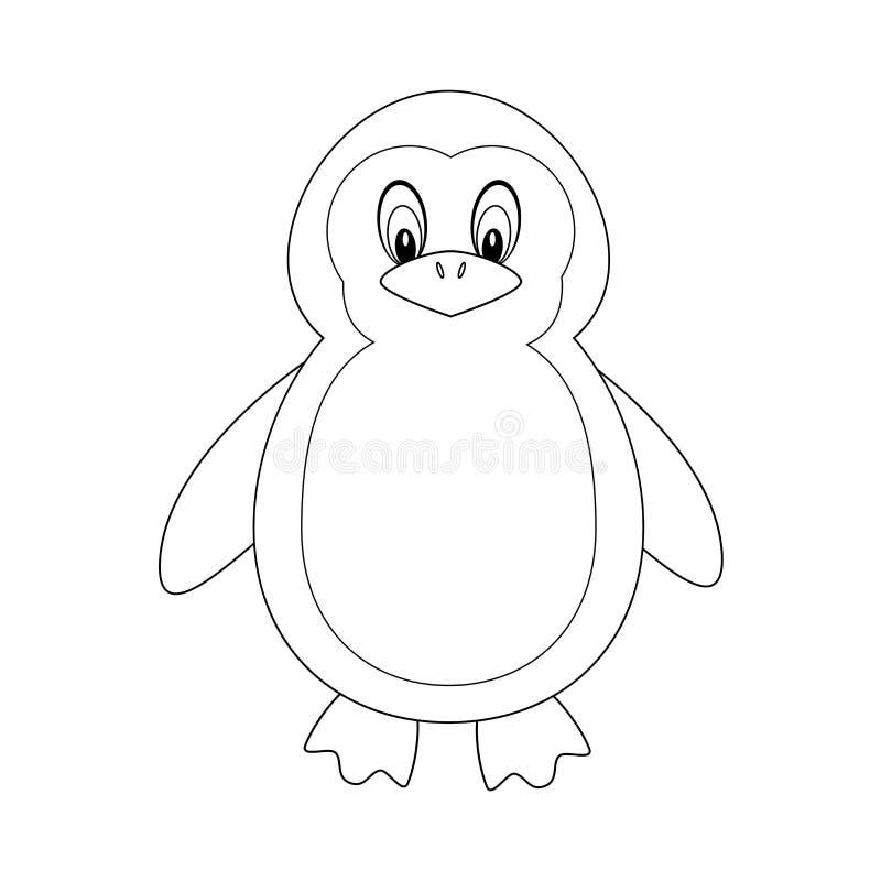 Bezbarwny śmieszny kreskówka pingwin Wektorowa ilustracja odizolowywająca na bielu ilustracja wektor