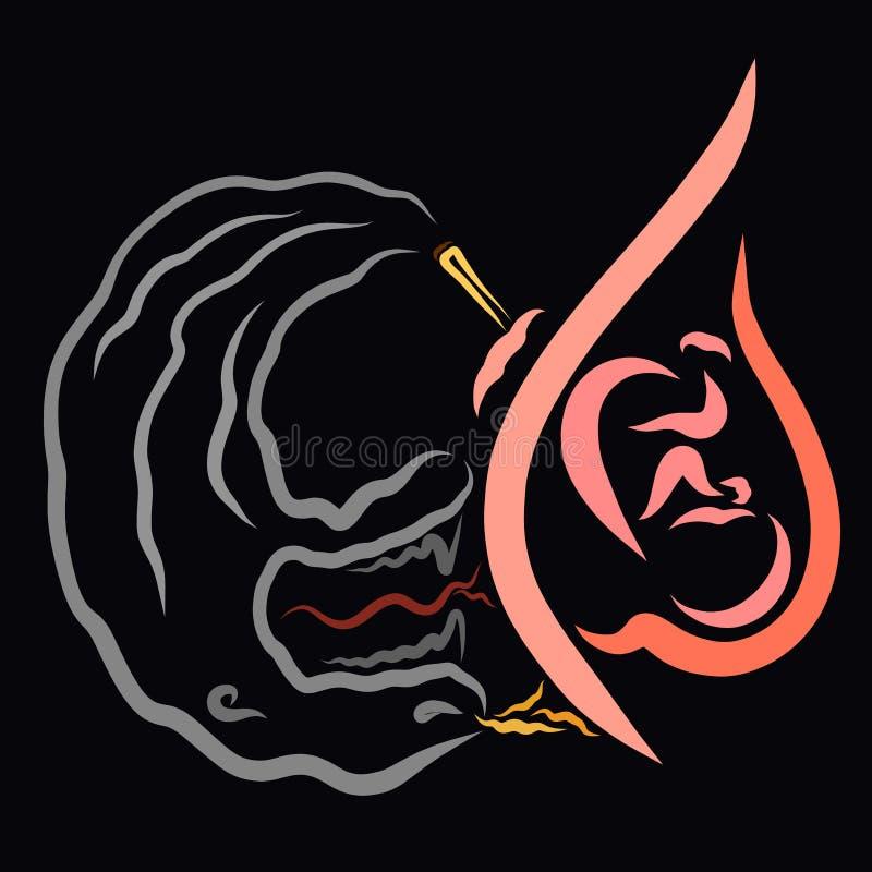 Bezbronny dziecko w brzuchu kobieta w ciąży krzywda dymienie potwór od dymu ilustracja wektor