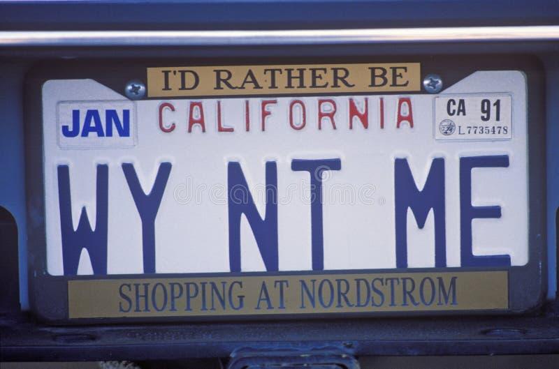 Bezcelowości tablica rejestracyjna - Kalifornia fotografia royalty free