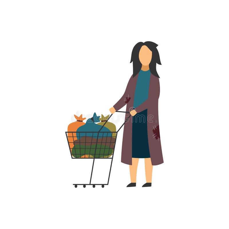 Bezdomna żebrak kobieta z fury płaską wektorową ilustracją odizolowywającą w złym stanie royalty ilustracja