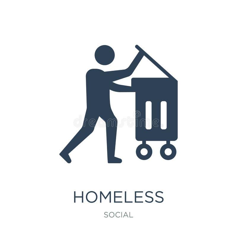 bezdomna ikona w modnym projekta stylu bezdomna ikona odizolowywająca na białym tle bezdomnej wektorowej ikony prosty i nowożytny royalty ilustracja