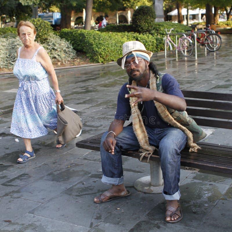Bezdomny życie w centrum Mallorca w Hiszpania obraz royalty free