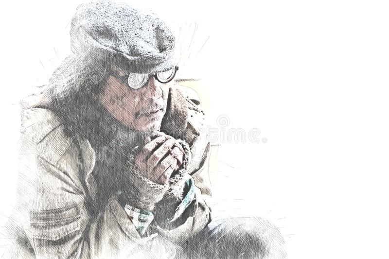 Bezdomny mężczyzny portret na chodzącej ulicznej akwareli obraz royalty free