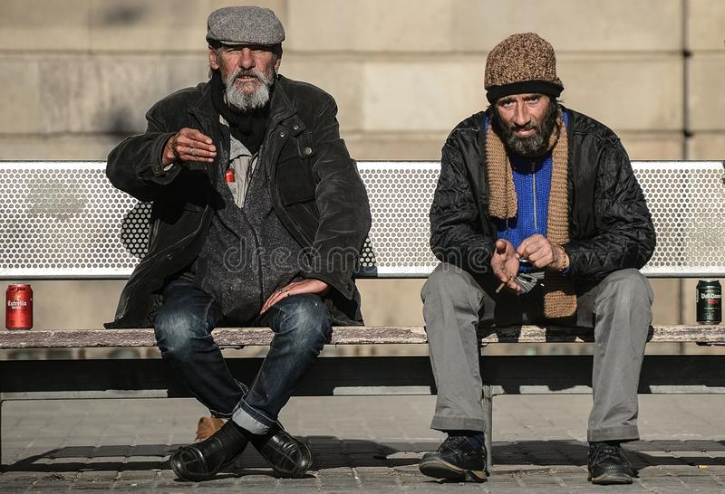 Bezdomny na ulicach Barcelona obrazy stock