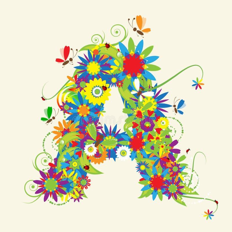 Bezeichnen Sie A, Blumenauslegung mit Buchstaben