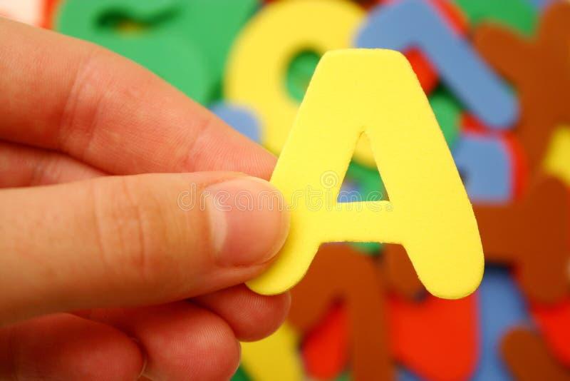 Bezeichnen Sie A mit Buchstaben stockbilder