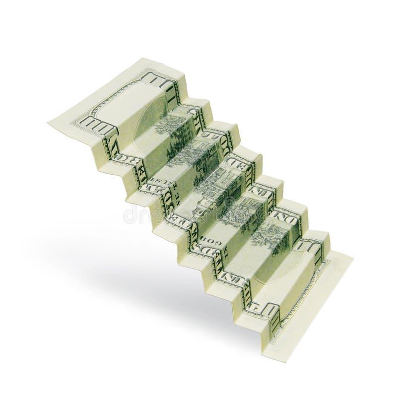 Bezeichnung von 100 US-Dollars wird in Form einer Leiter gefaltet Getrennt auf weißem Hintergrund Abbildung 3D lizenzfreie abbildung