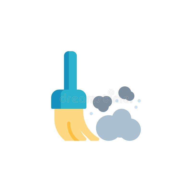 Bezem en stof vlak pictogram stock illustratie