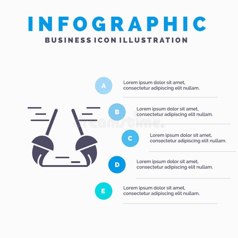 Bezem, Schoon, het Schoonmaken, Bereik Stevig Pictogram Infographics 5 de Achtergrond van de Stappenpresentatie vector illustratie