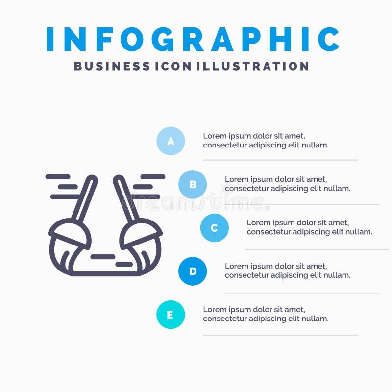 Bezem, Schoon, het Schoonmaken, het pictogram van de Bereiklijn met infographicsachtergrond van de 5 stappenpresentatie stock illustratie