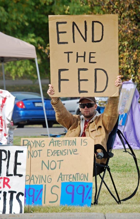 Bezet de Protesteerder van de Stad van Kansas stock afbeelding