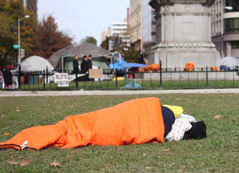Bezet de protesteerder van gelijkstroom op Halloween stock foto