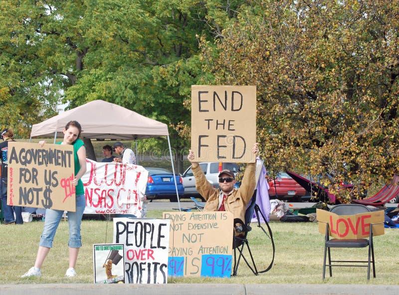 Bezet de Protesteerders van de Stad van Kansas stock foto