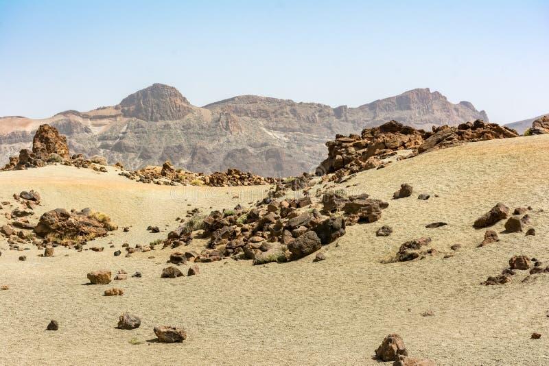 Bezet het Teide Nationale Park het hoogste gebied van het Eiland Tenerife in de Canarische Eilanden en Spanje stock afbeelding