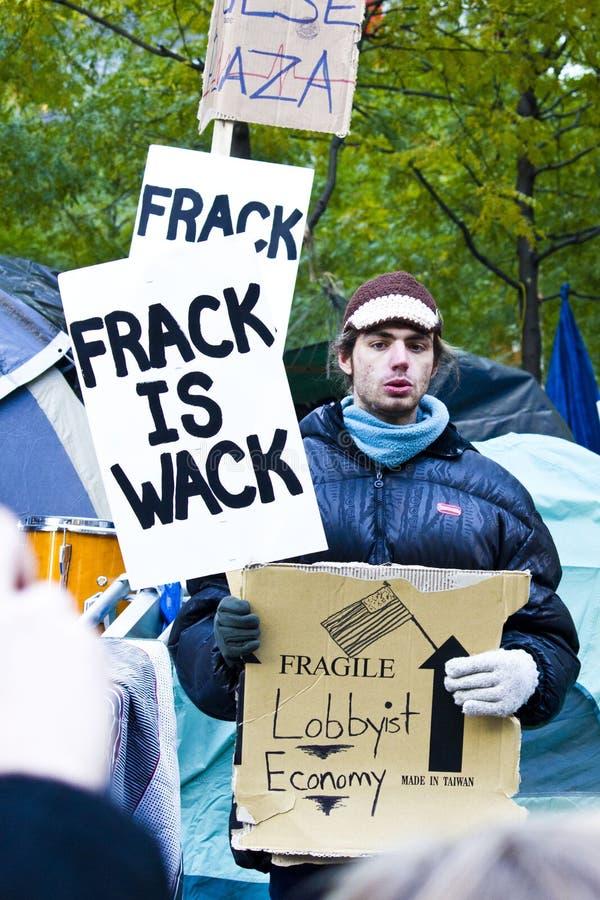 Bezet Wall Street 6, frack is wack stock foto's