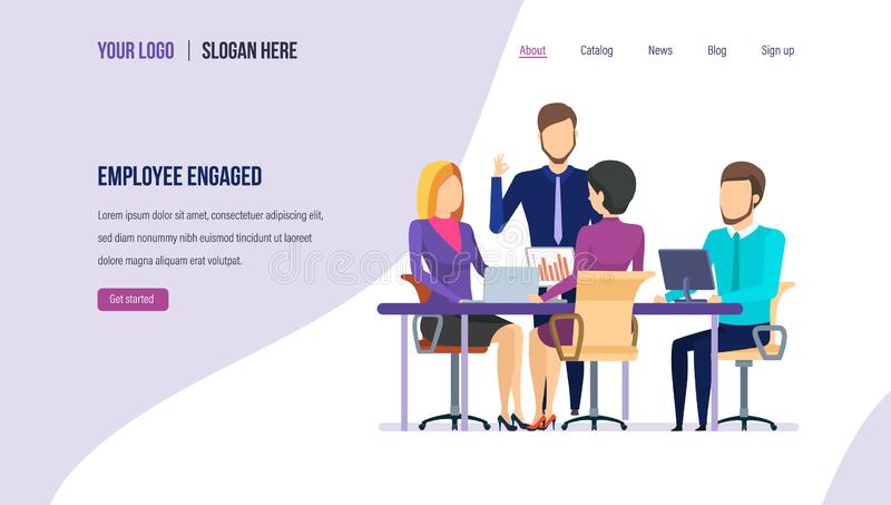 Bezette werknemer Werknemersmotivatie, groepswerk, beheer, de carrièregroei aan succes stock illustratie