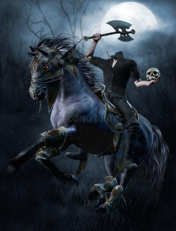 Bezgłowy jeździec w lesie ilustracja wektor
