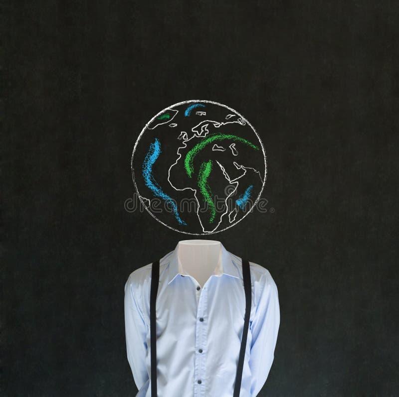 Bezgłowy mężczyzna z kredową światową kuli ziemskiej ziemi głową zdjęcia stock