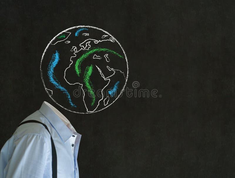 Bezgłowy mężczyzna z kredową światową kuli ziemskiej ziemi głową zdjęcie stock
