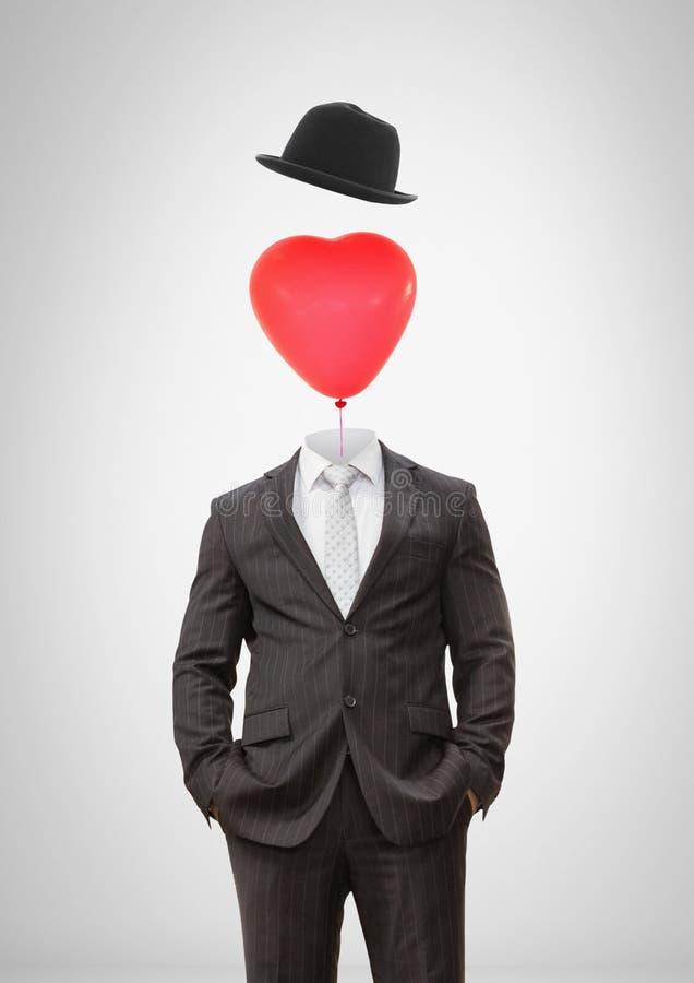 Bezgłowy mężczyzna z surrealistycznym spławowym kapeluszem i serce szybko się zwiększać ilustracji