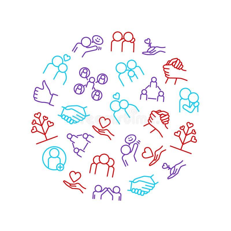Beziehungen und Gefühle verdünnen Linie runde Design-Schablonen-Anzeige Vektor stock abbildung