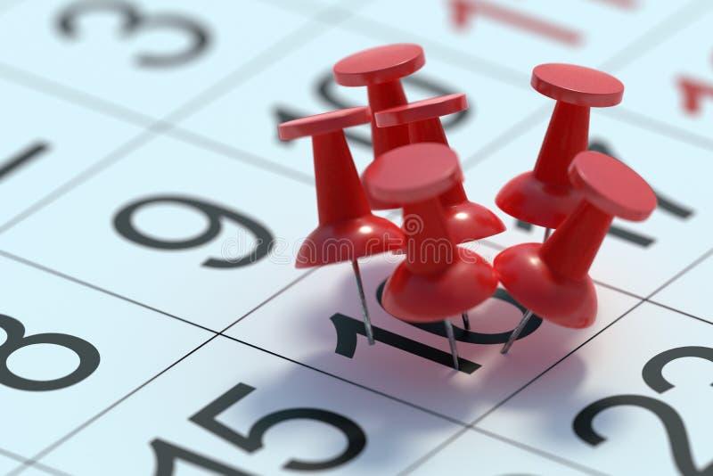Bezig dagconcept Vele die punaisen aan één dag in kalender worden gespeld 3D teruggegeven illustratie royalty-vrije illustratie