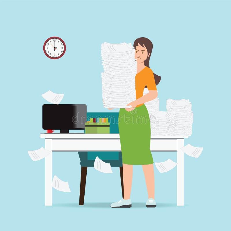 Bezig het bureaudocument van de bedrijfsvrouwenholding vector illustratie