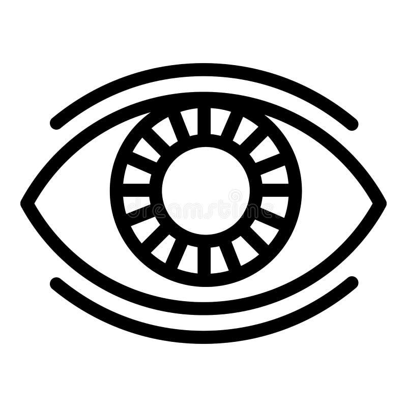 Bezig oogpictogram, overzichtsstijl stock illustratie