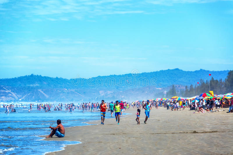 Bezig Strand in Olon, Ecuador stock fotografie