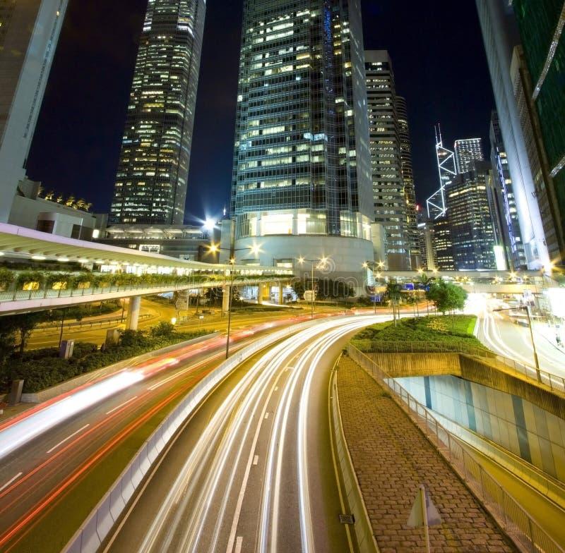 Bezig verkeer binnen de stad in van Hongkong stock afbeelding