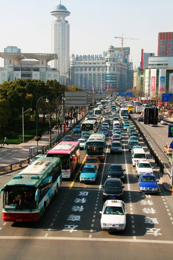 Bezig verkeer in Shanghai royalty-vrije stock foto