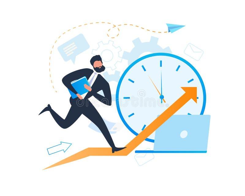 Bezige Beeldverhaalzakenman Character Deadline Clock royalty-vrije illustratie
