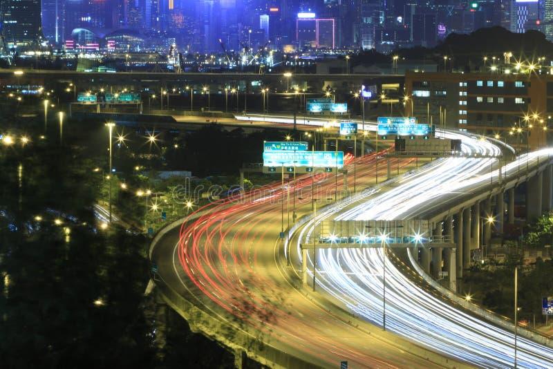 Bezige Stadsweg in Hong Kong royalty-vrije stock afbeelding