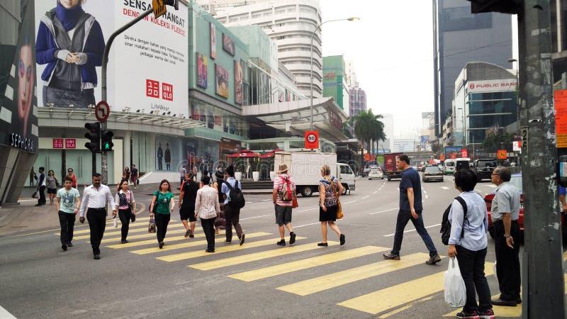 Bezige Straat in Bukit Bintang Kuala Lumpur stock foto's