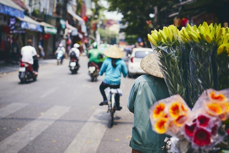 Bezige straat in Hanoi royalty-vrije stock afbeelding