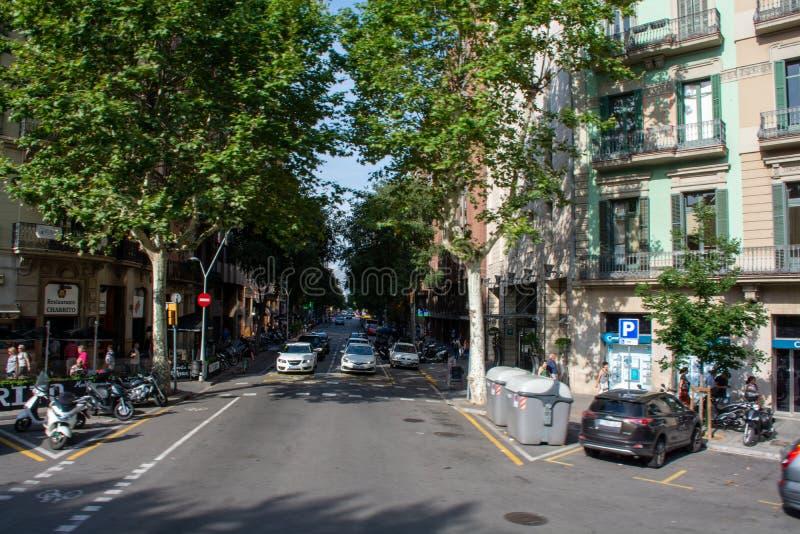 Bezige straat met mensen die weg kruisen stock afbeelding