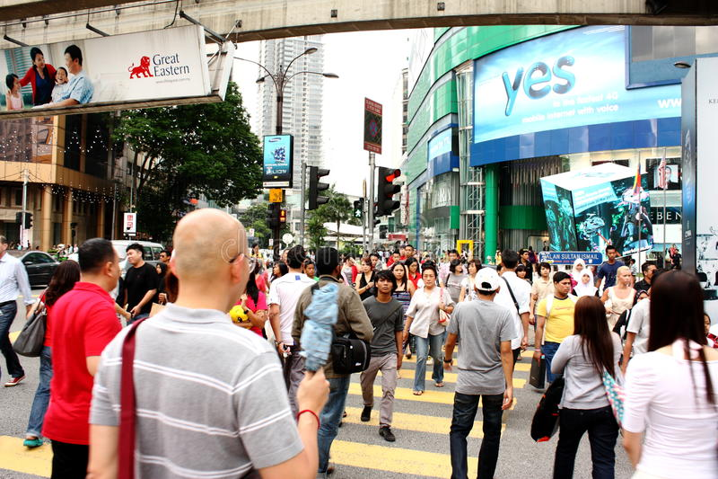 Bezige Straat van Bukit Bintang, Kuala Lumpur royalty-vrije stock fotografie