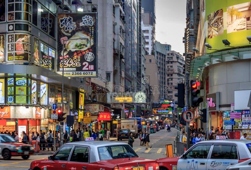 Bezige Straten van Kowloon stock foto's